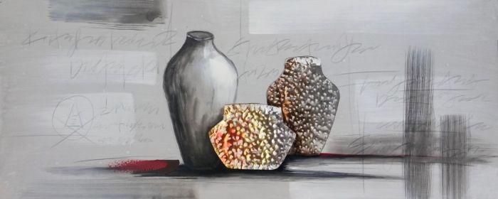 Moderne Schilderijen: Drie Vazen Metaal Schilderij