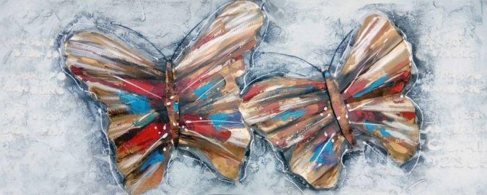 Dieren Schilderijen: Twee Metalen Vlinders Schilderij