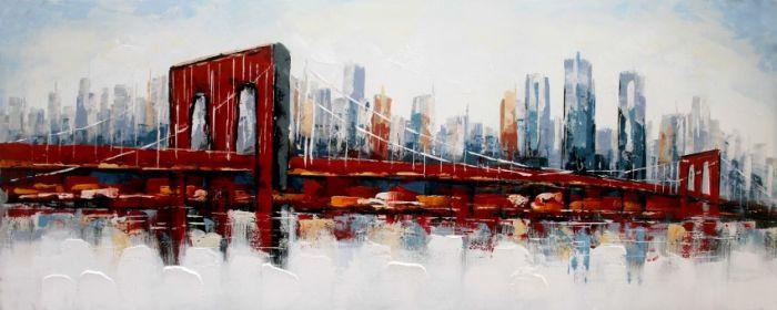 Gebouwen Schilderijen: Rode Brooklyn Bridge Schilderij