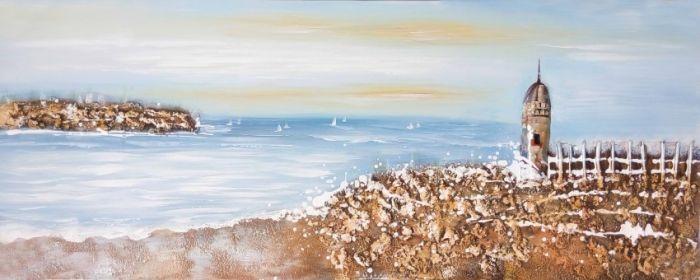 Zeezicht Schilderijen: Landelijk Zeezicht Vuurtoren Schilderij