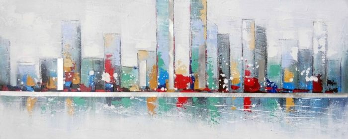 Gebouwen Schilderijen: Kleurrijke Wolkenkrabbers Schilderij