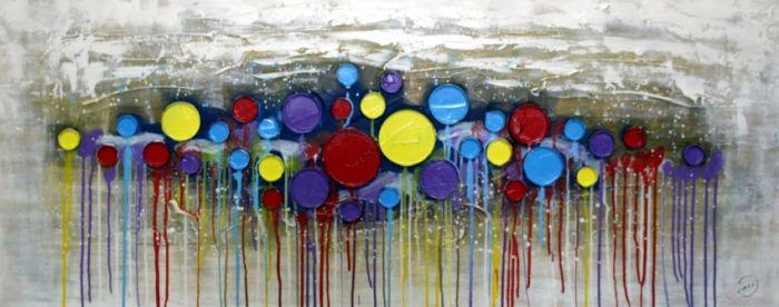 Kleurrijke Schilderijen: 3D Kleurrijke Cirkels Schilderij