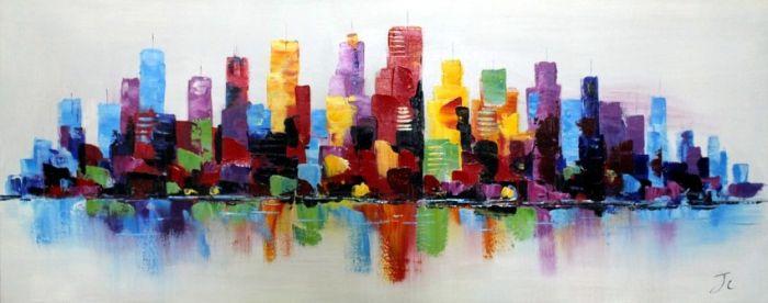 Gebouwen Schilderijen: Kleurrijke Stadsgrens Schilderij