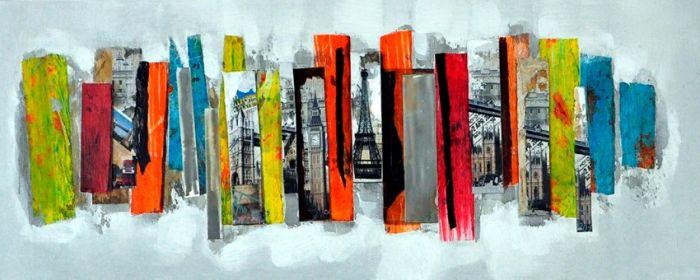 Abstracte Schilderijen: 3D Kleurrijk Steden Schilderij