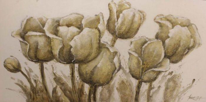 Bloemen Schilderijen: Zeven Beige Tulpen Schilderij