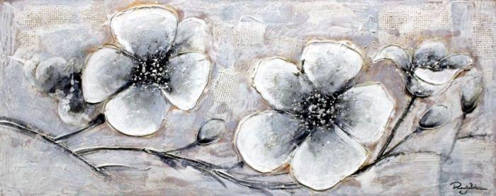 Bloemen Schilderijen: Drie Wit Grijze Boterbloemen Schilderij