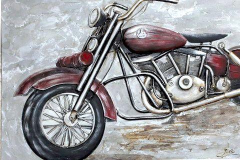 Rijtuigen Schilderij: Metalen Rode Chopper Schilderij