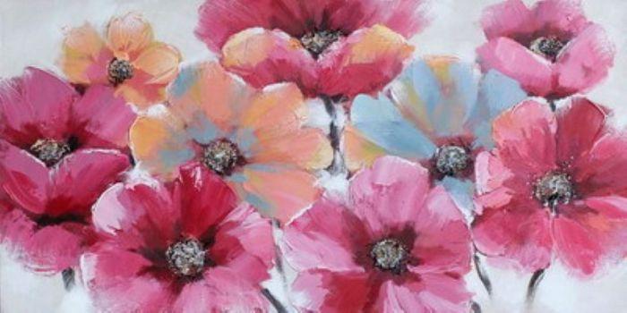 Bloemen Schilderijen: Roze Klaprozen Schilderij