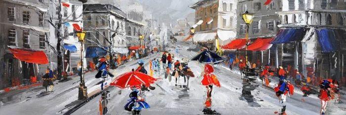 Figuratieve Schilderijen: Rood Blauwe Stad Schilderij