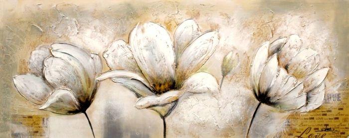 Bloemen Schilderijen: Drie Witte Bloemen Schilderij