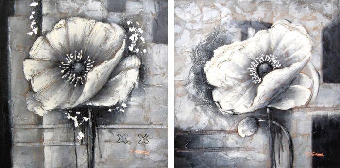 Bloemen Schilderijen: Metalen Klaprozen Schilderij