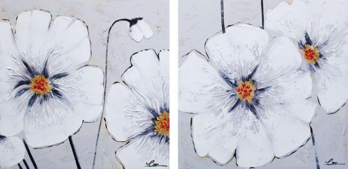 Bloemen Schilderijen: Witte Papavers Schilderij