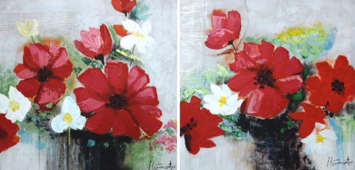 Bloemen Schilderijen: Rode Witte Bloemen Schilderij