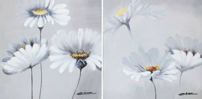 Bloemen Schilderijen: Witte Margrieten Schilderij