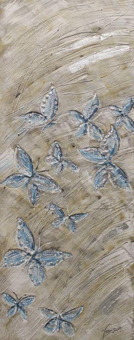 Abstracte Schilderijen: 3D Abstract Vlinders Schilderij