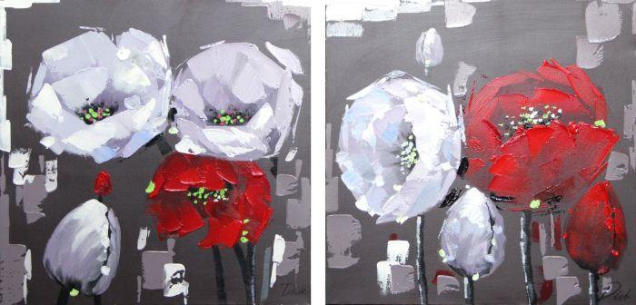 Bloemen Schilderijen: Schilderij rood witte bloemen