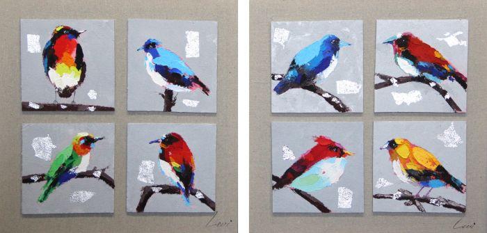 Dieren Schilderijen: Schilderij verschillende vogels