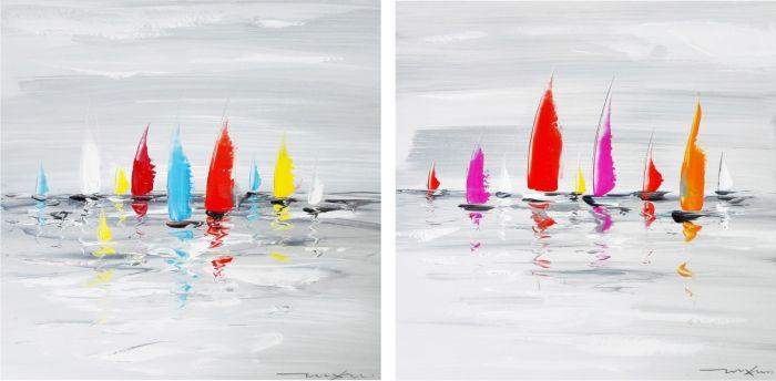 Moderne Schilderijen: Schilderij kleurrijke harten zeilboten modern
