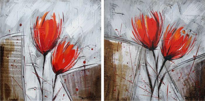 Bloemen Schilderijen: Schilderij rode bloemen modern