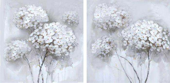 Bloemen Schilderijen: Schilderij unieke witte bloemen