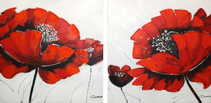 Bloemen Schilderijen: Schilderij twee rode bloemen