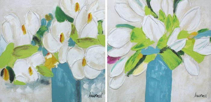 Bloemen Schilderijen: Schilderij blauw groene bloemen