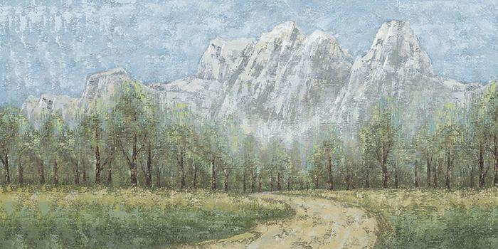 Landschappen Schilderijen: Bergen Bosrijk Landschap Schilderij