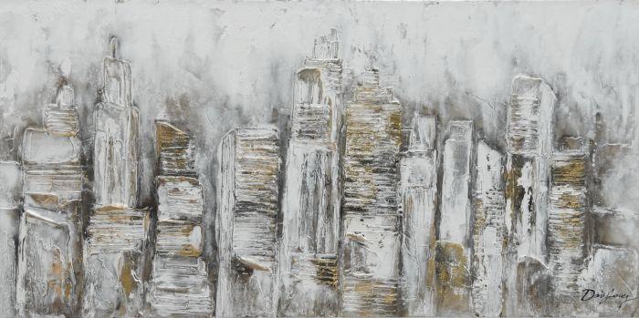 Abstracte Schilderijen: Abstracte Structuur Grijs Goud Schilderij