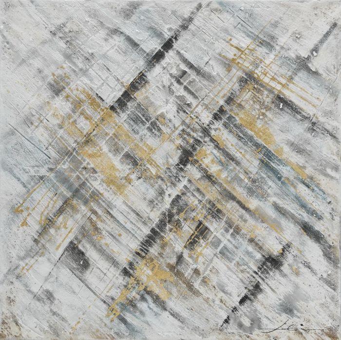 Abstracte Schilderijen: Abstracte Grijs Beige Schilderij