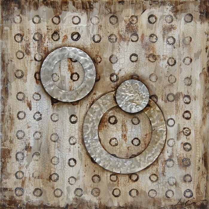 Moderne Schilderijen: Modern Metalen Cirkels Schilderij
