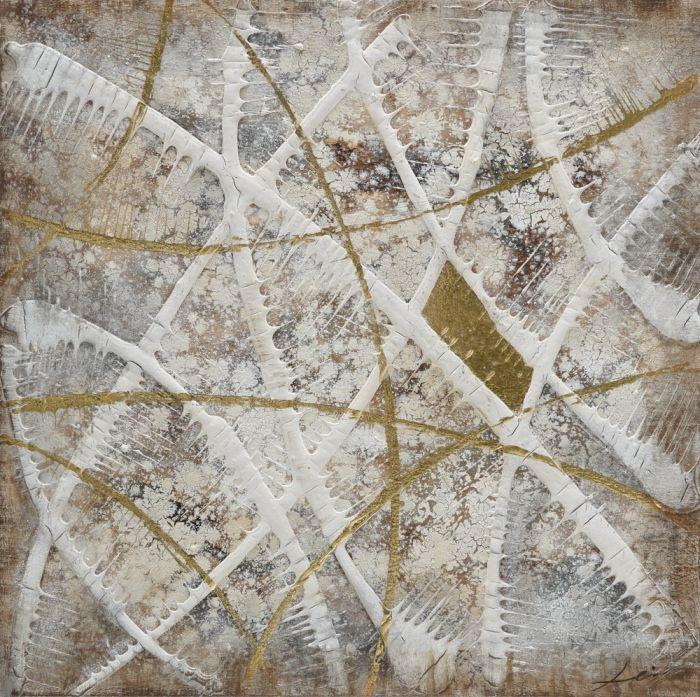 Abstracte Schilderijen: Abstracte Strepen Oker Wit Schilderij