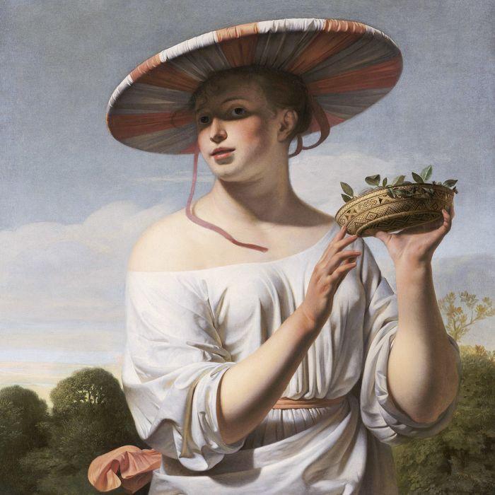 Figuratieve Schilderijen: Replica Meisje Met Brede Hoed Caesar Everdingen Wandkraft Schilderijen