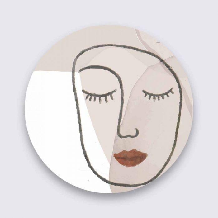 Figuratieve Schilderijen: Gezicht Gesloten Ogen Rode Lippen Wandkraft Collectie Pure Metal Schilderijen
