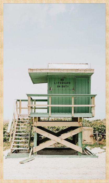 Foto Kunst Schilderijen: Summer Time Collectie Wandkraft Forex Schilderij Strandwacht Huisje
