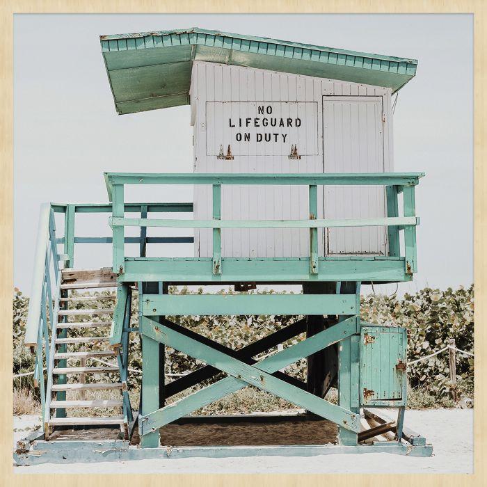 Foto Kunst Schilderijen: Turquoise Strandwacht Huisje Wandkraft Collectie Summertime Forex Schilderij