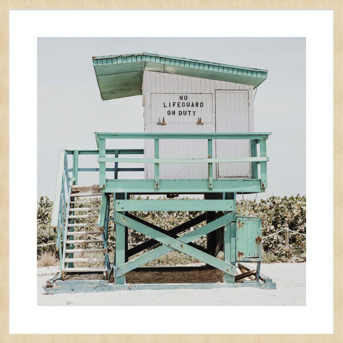 Foto Kunst Schilderijen: Foto Kunst Turquoise Strandwacht Huisje Summer Time Collectie