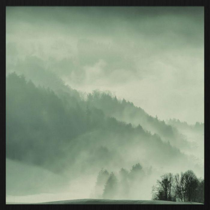 Foto Kunst Schilderijen: Winters Landschap Bergen Dennenbomen Forex Schilderij 74x74