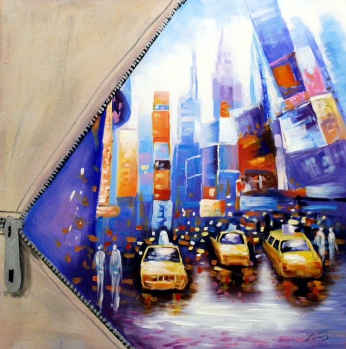 Gebouwen Schilderijen: Schilderij gele taxi's olieverf 100x100