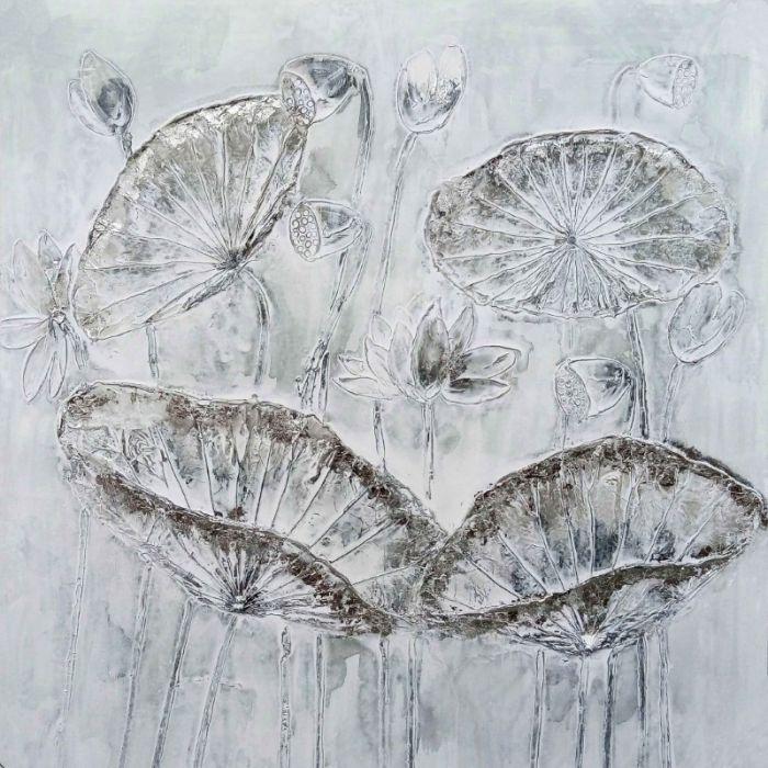 Bloemen Schilderijen: Schilderij witte moderne bloemen 100x100