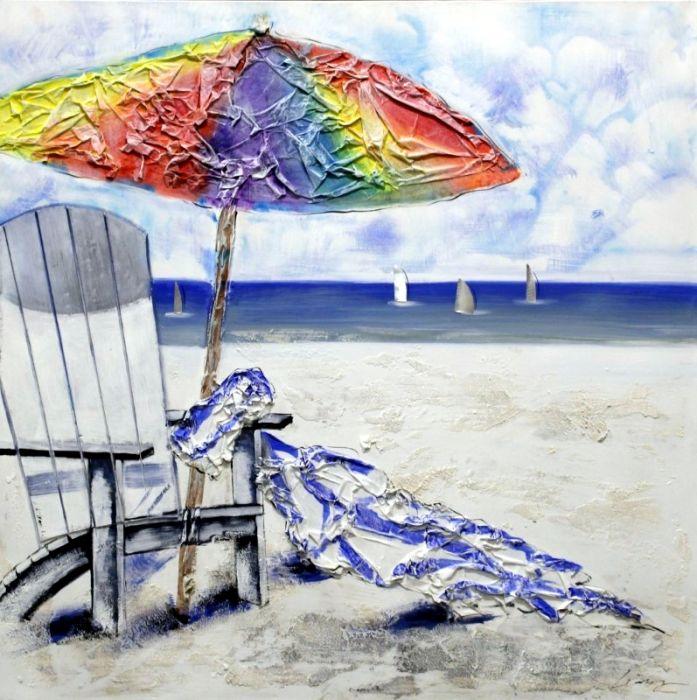 Zeezicht Schilderijen: Schilderij kleurrijk strandzicht 100x100