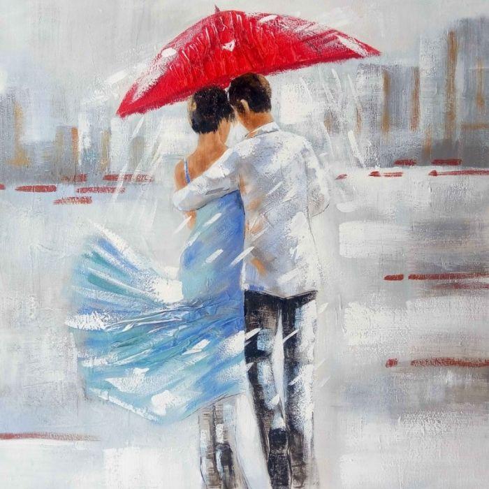 Figuratieve Schilderijen: Schilderij romantisch stel wandeling 100x100