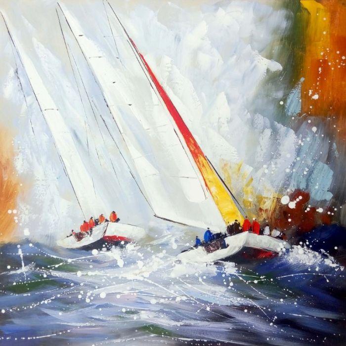 Zeezicht Schilderijen: Schilderij ruige zee zeilboten 100x100