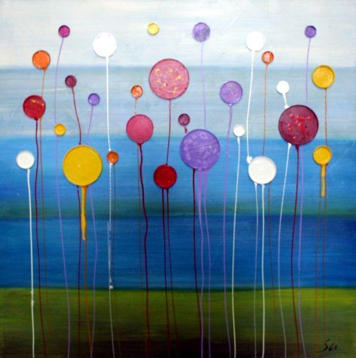 Kleurrijke Schilderijen: Schilderij kleurrijke ballonnen 100x100