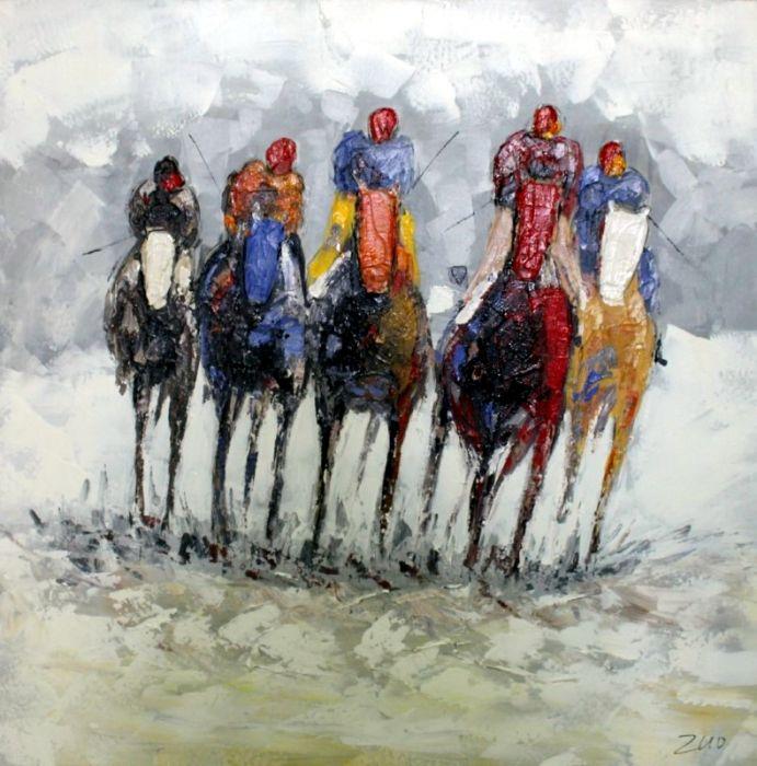Kleurrijke Schilderijen: Schilderij paarden drafbaan 100x100