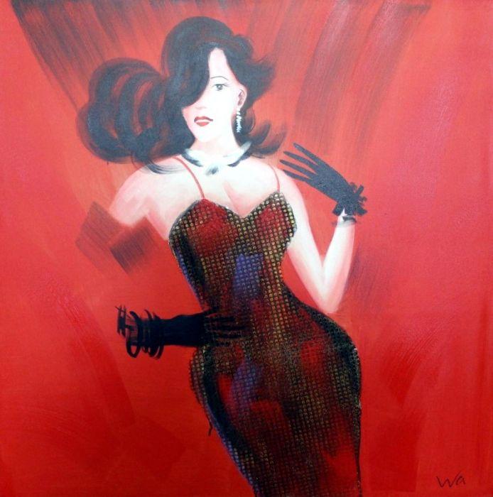 Figuratieve Schilderijen: Schilderij sierlijke dame in rood 100x100