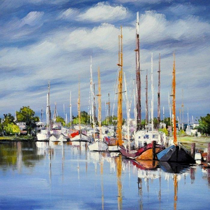 Kleurrijke Schilderijen: Schilderij jachthaven met boten 100x100