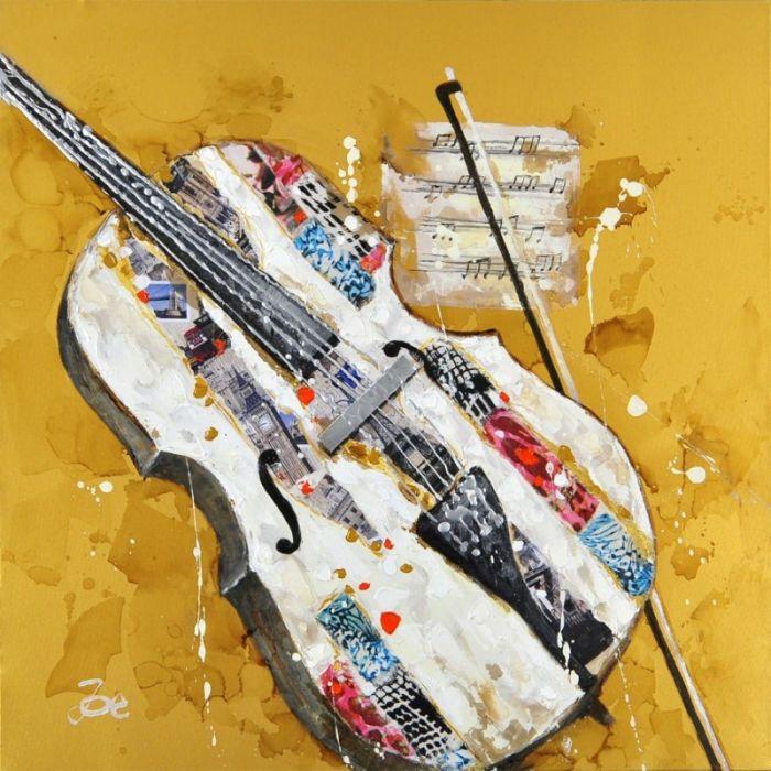 Moderne Schilderijen: Schilderij gele Cello 100x100