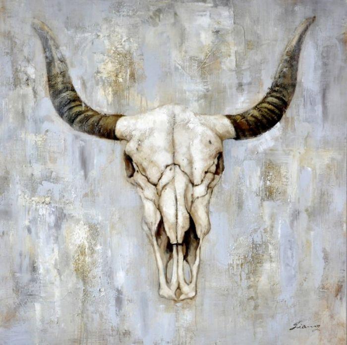 Dieren Schilderijen: Schilderij stoere stier hoofd 100x100