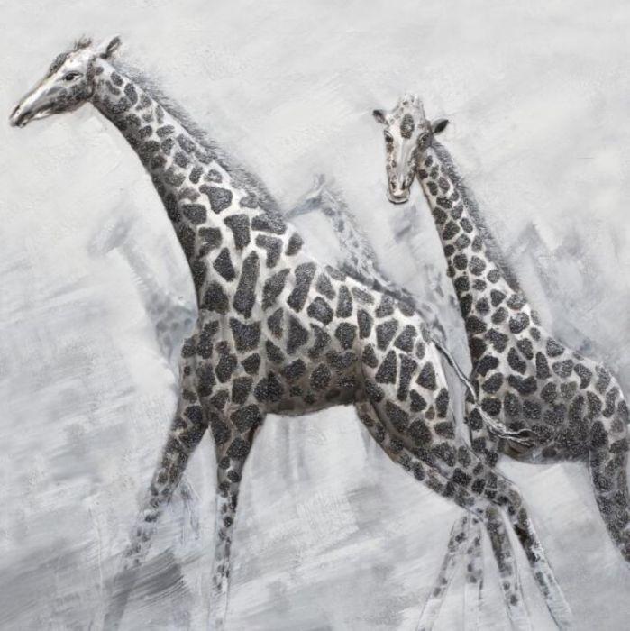 Dieren Schilderijen: Schilderij twee giraffen 100x100