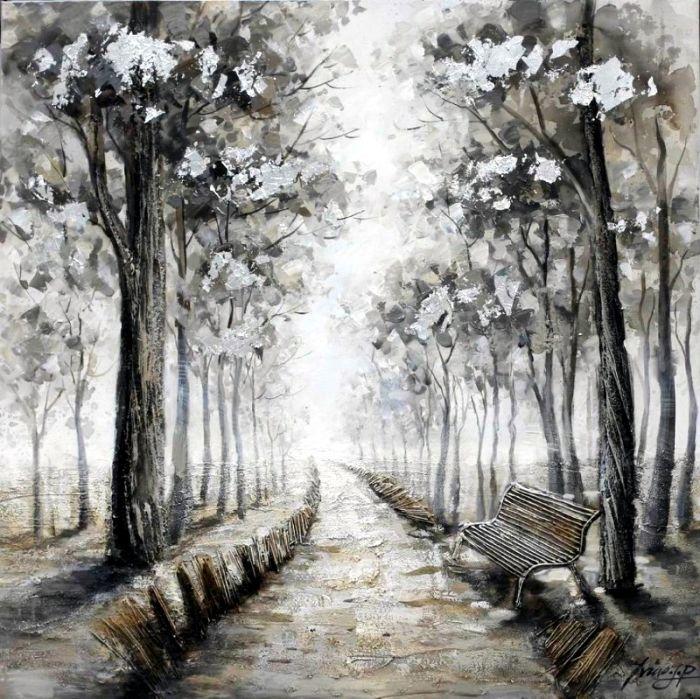 Landschappen Schilderijen: Schilderij grijs landschap 100x100